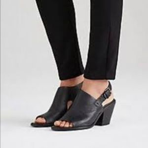 "Eileen Fisher Black ""Glance"" Leather Sandals"